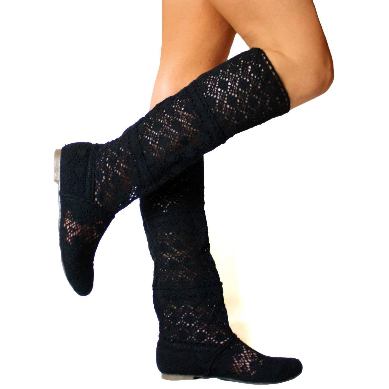 Maybest Womens Summer Boots Flat Shoes Elegant Gladiator Embroidery Slip-On Shoes Fashion Mesh High Boots Black 7