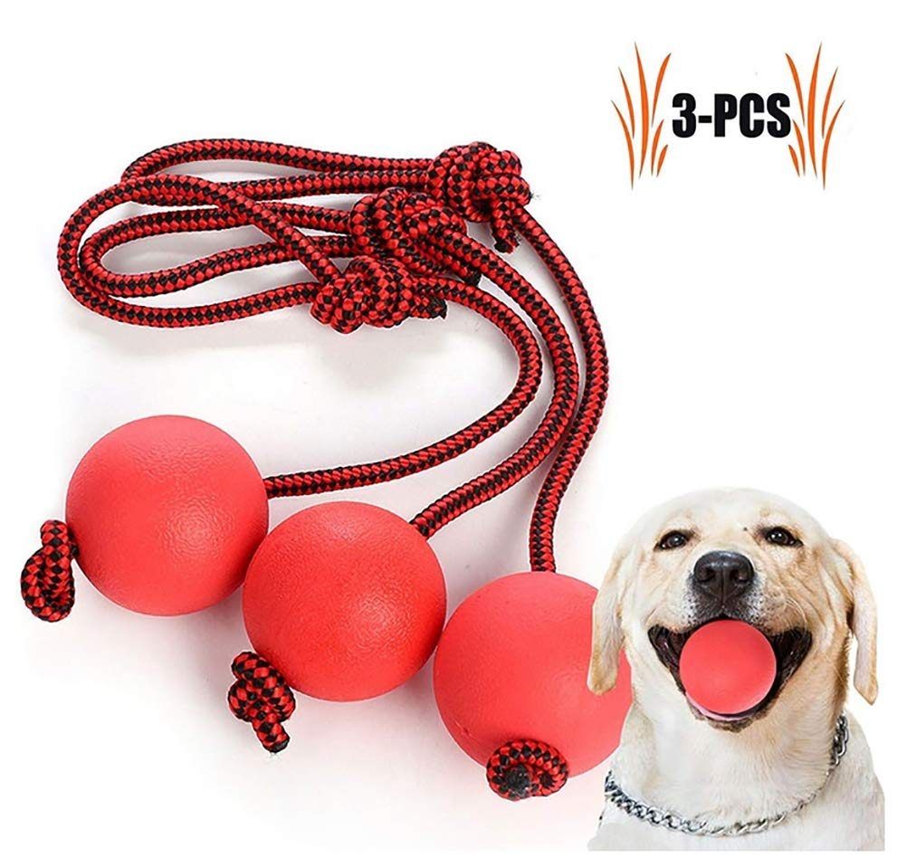 Dog Toy Ball, Nontoxic Bite Resistant Toy Ball for Pet Dogs Puppy Cat, Dog Pet Chew Tooth Cleaning Ball Pet Exercise Game Ball IQ Training Ball 3pcs