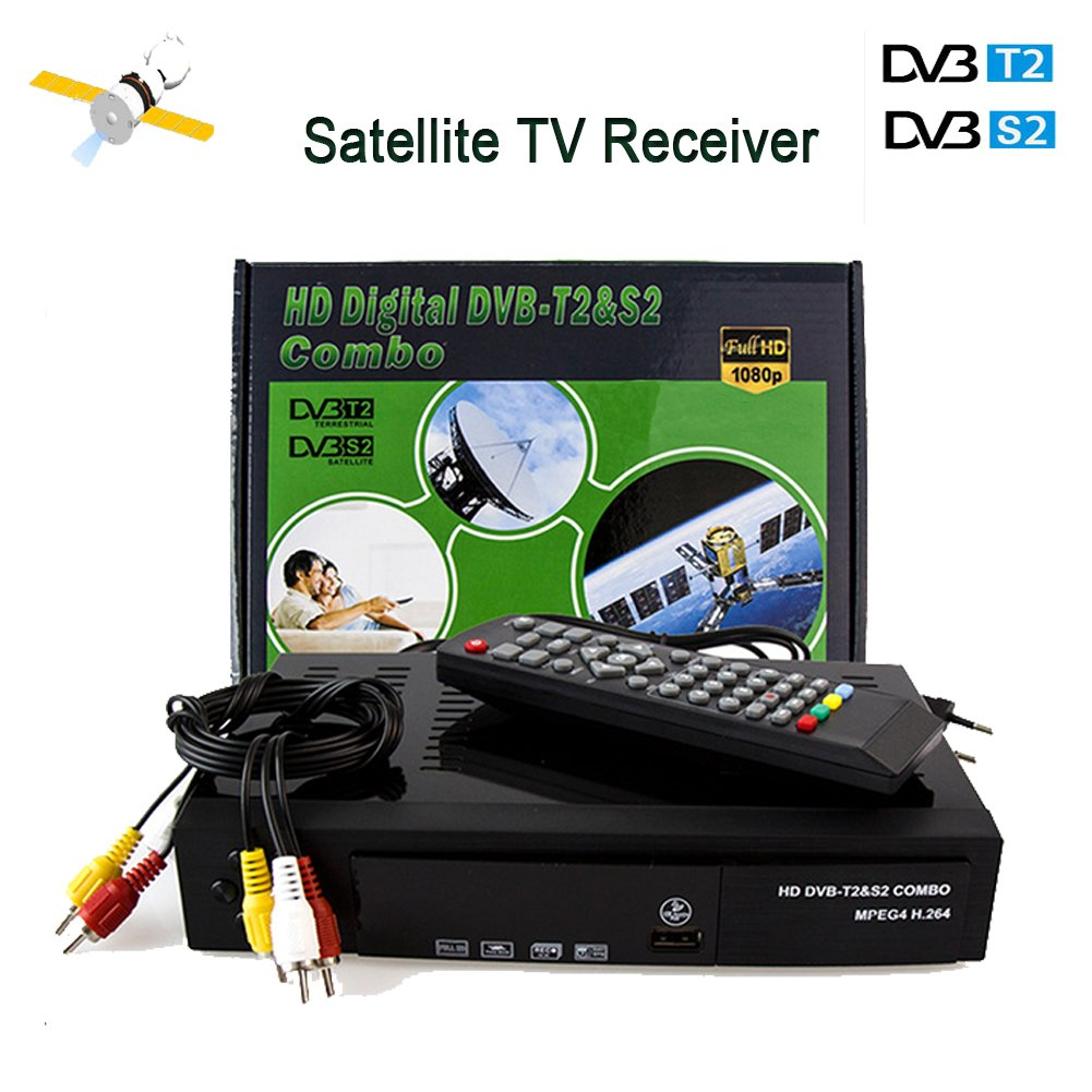 Newest Digital FTA HD 1080P DVB S2/T2 Combo 2 in 1 Satellite Receiver and Terrestrial TV Tuner Sat Receptor Support H.264/MPEG-2/MPEG-4/AVS VOdmy DVB S2+T2