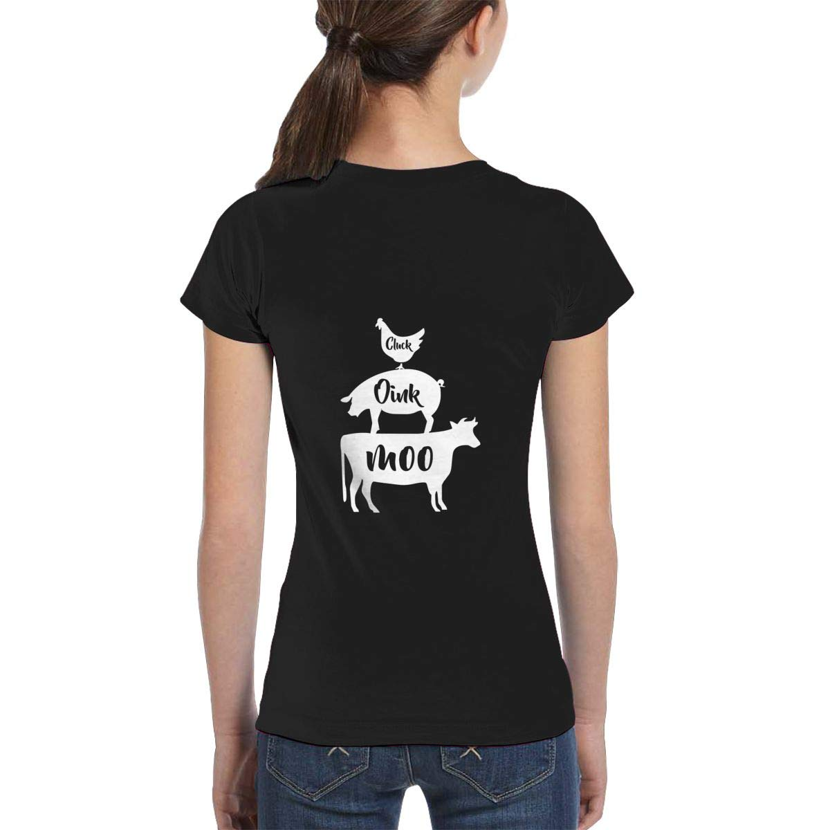 XS-XL Fashion Tunic Shirt Dress Girls Short Sleeve Farm Anilmals Silhouette Chicken Pig Cow-1 Shirts