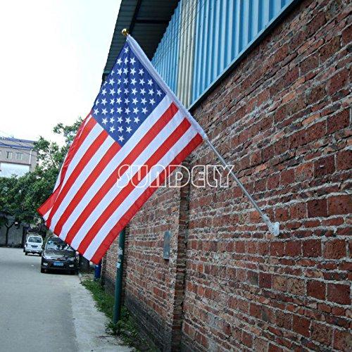 SUNDELY® 6pies retráctil telescópico ligero bandera de mástil para bandera de aluminio ángulo ajustable con soporte de pared (no incluido)