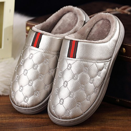 CWAIXXZZ pantofole morbide Paio di pantofole di cotone uomini pelle pu di spessore impermeabile home home interno anti-slittamento su le pantofole caldo inverno ,44-45 adatto a grandi (43-44), il grig