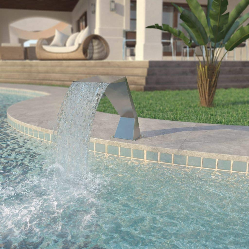 Home & Garden Decor Fountains & Ponds Fountains & Waterfalls Pool Fountain Stainless Steel 25.2''x11.8''x20.5'' Silver