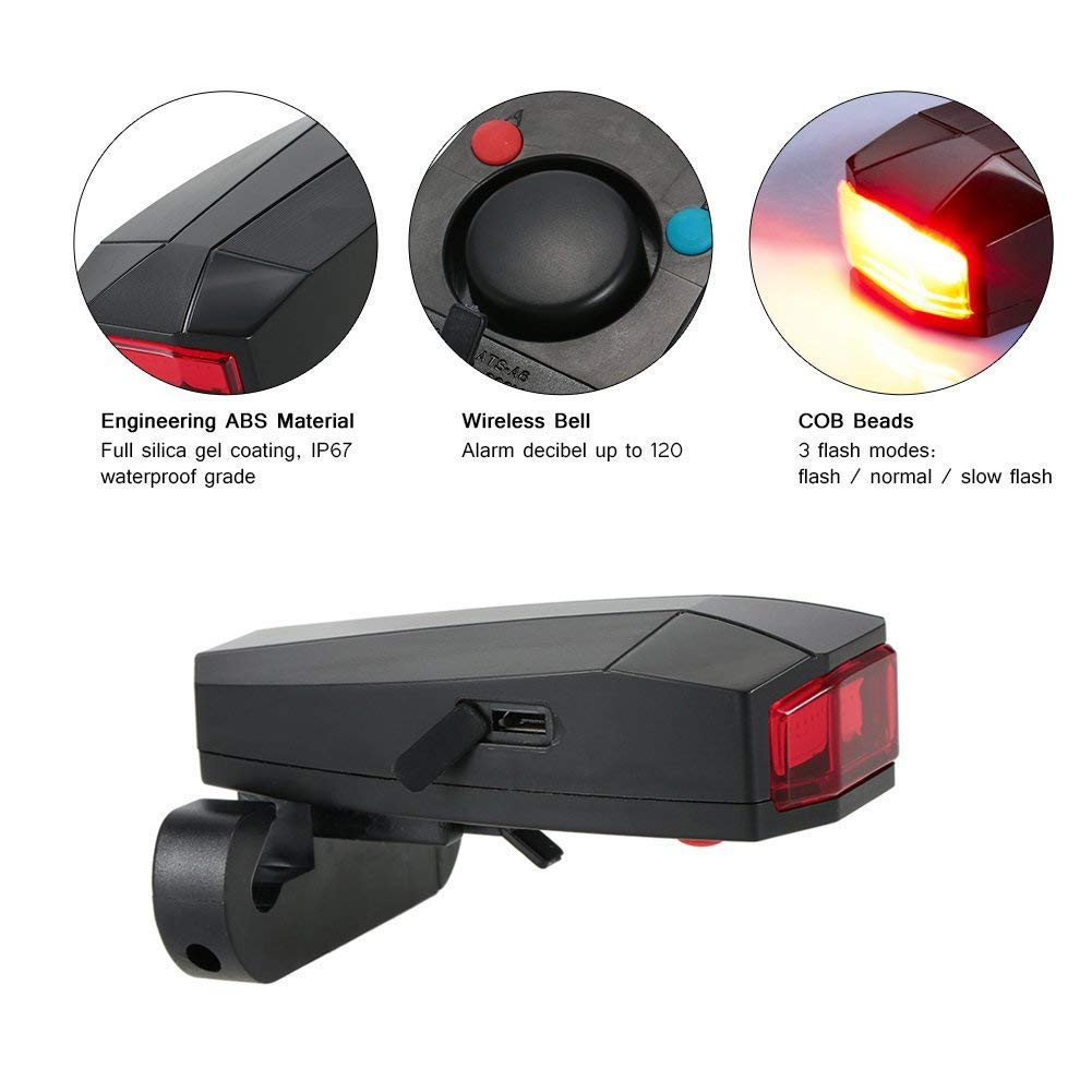 RENNICOCO Intelligent Anti-Theft Device for Bicycle taillight Alarm LED Bicycle stroboscopic Alarm Bell with Wireless Remote Control USB Cable Mountainous Bicycle Accessories