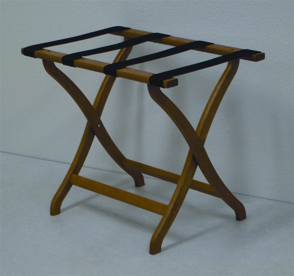 Deluxe Contour Leg Luggage Rack Wood Finish: Medium Oak, Fabric: Tan by Wooden Mallet (Image #1)