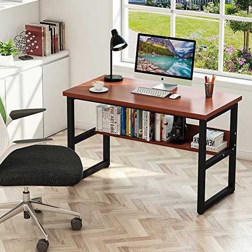 Tribesigns Computer Desk With Bookshelf 47 Quot Simple Modern