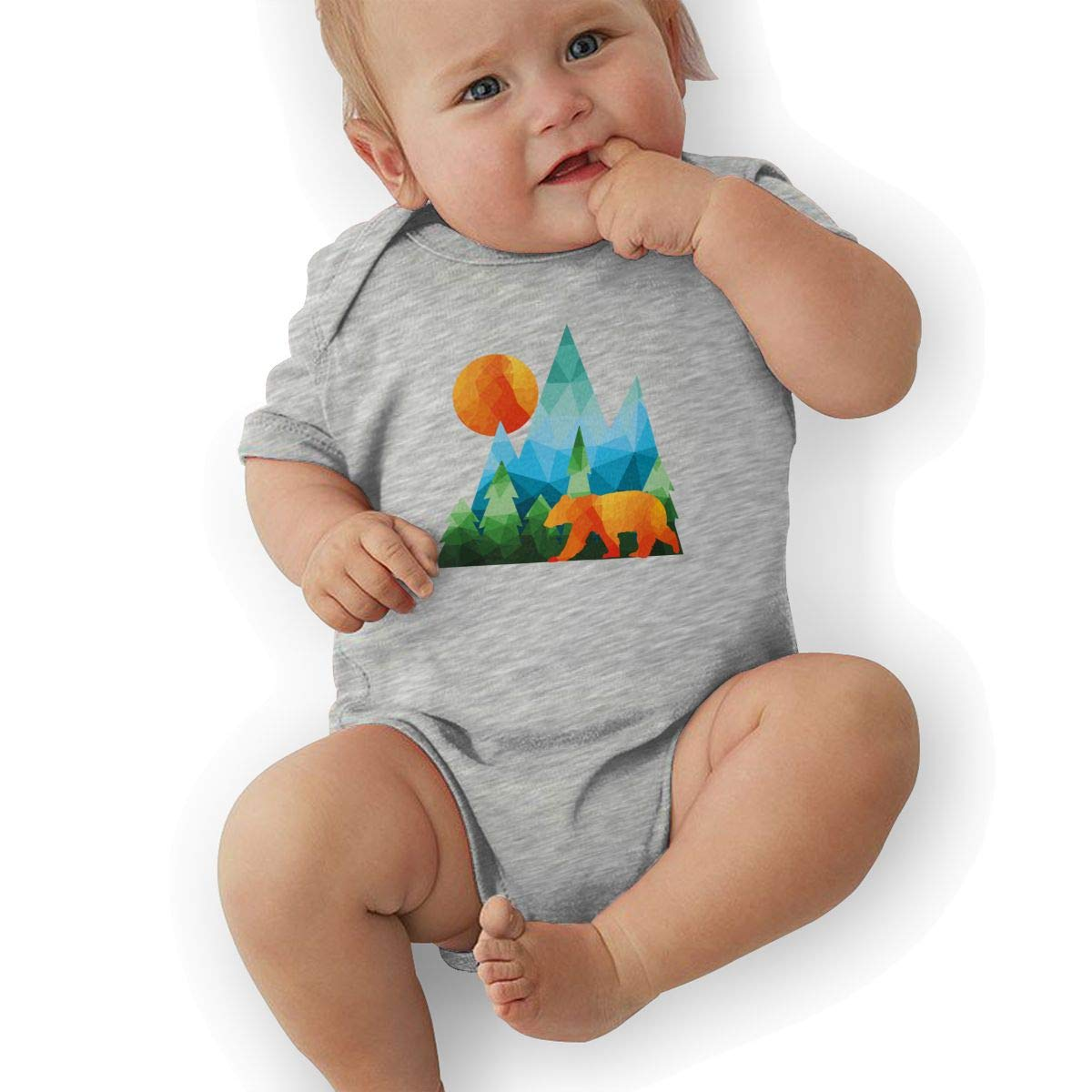 BONLOR Colorful Cali Bear Baby Boys Girls Jumpsuits Short Sleeve Romper Bodysuit Bodysuit Jumpsuit Outfits Gray