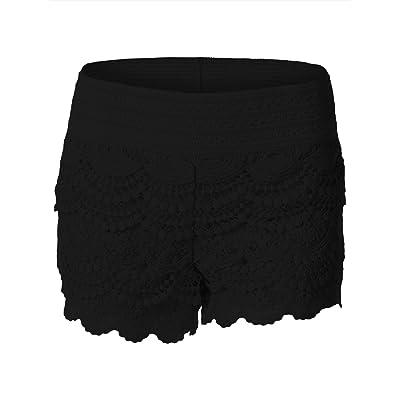 7Encounter Women's Layered Crochet Lace Shortie Shorts