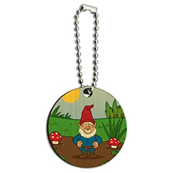 Garden Gnome With Toadstools Wood Wooden Round Keychain Key Chain Ring