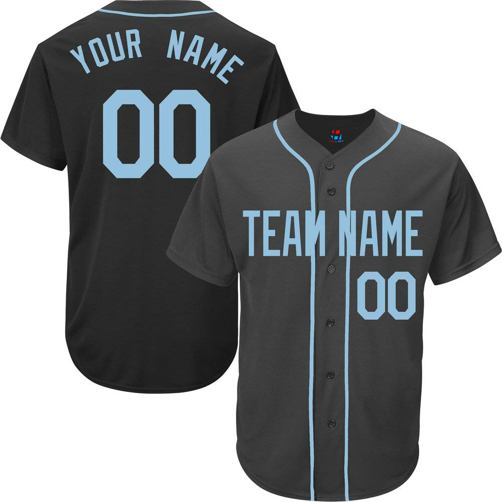 Black Customized Baseball Jersey for Men Full Button Mesh Big and Tall Stitched Name & Numbers,Light Blue Size 8XL by Pullonsy