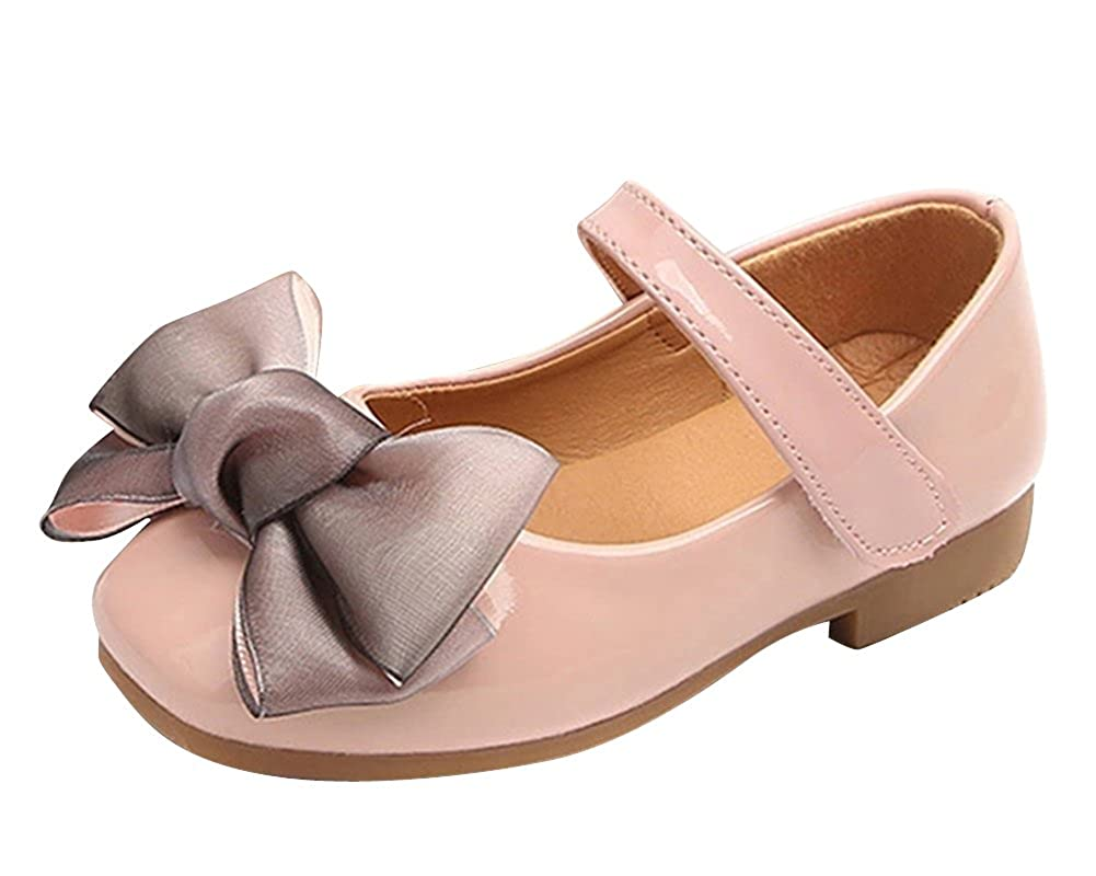Qitun Fille Nœud Papillon Fête Cérémonie Mariage Chaussure à Fond Plat Bébé Chaussure de Princesse
