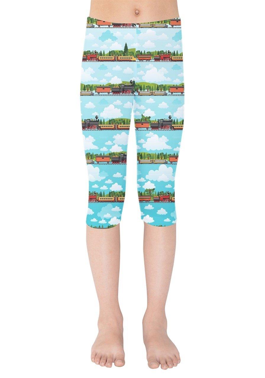 PattyCandy Girls Travel by Train Comfy Kids Stretchy Capri Leggings - 7