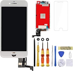 Lansupp iPhone 8 Plus Screen Replacement 3D Touch Screen Glass Digitizer Frame Assembly Set with Tempered Glass Screen Protector + Repair Tools + Instruction (5.5 Inch White)