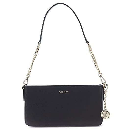 DKNY black saffiano leather shoulder bag with shoulder strap  Amazon.co.uk   Clothing 0f4288682999b