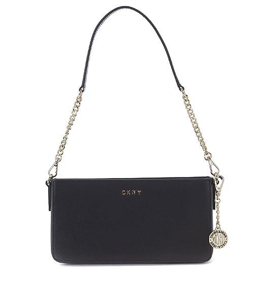 bc74d114d DKNY black saffiano leather shoulder bag with shoulder strap: Amazon.co.uk:  Clothing