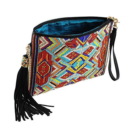 MARY FRANCES Mixed Message Beaded Leather Crossbody Zip Top Handbag by Mary Frances (Image #2)