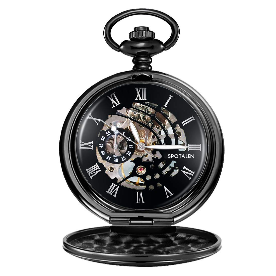 Pocket Watch Mechanical Retro Classic Smooth Antique Men Pocket Watch with Detachable Chain and Roman Numerals