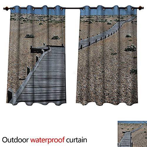 cobeDecor Beach 0utdoor Curtains for Patio Waterproof Coastline Pebbles Peace W55 x L45(140cm x 115cm)