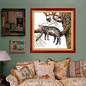 46x45cm DIY Cross-stitch Lazy Cat Printing EmbroideryHome Decor Needlework Kit // 46x45cm de