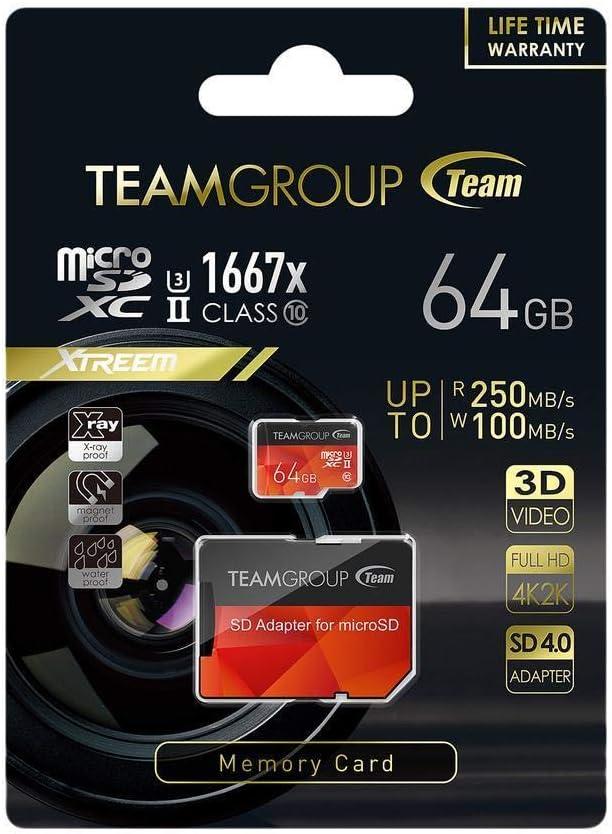 Team 64GB Xtreem microSDXC UHS-II//U3 Memory Card with Adapter Speed Up to 250MB//s Model TCUSDX64GUHSII44