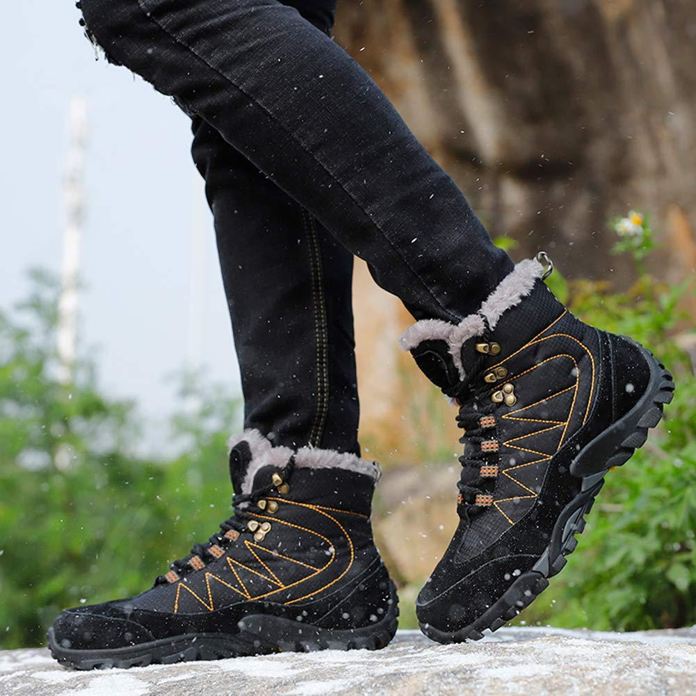 Classic Pink Winter Boots Men Snow Ankle Boots Warm Outdoor Walking Hiking Shoes Anti Slip