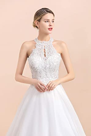 Elegancka sukienka ślubna, z cekinami, z wiązaniem na szyi, z wiązaniem w pasie, z dekoltem w kształcie litery A: Odzież