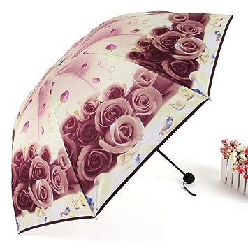 AMYMGLL paraguas automático sol paraguas plegable UV sombra dama resistentes rosa rosa paraguas