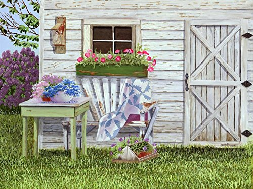 """Garden Shed and Wren by Julie Peterson - 8"""" x 10"""" Giclee Canvas Art Print"""