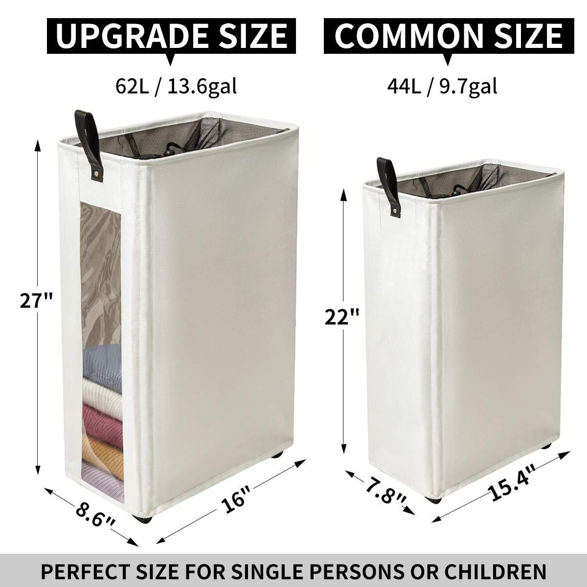 ZERO JET LAG Slim Laundry Hamper Tall Laundry Basket Clear Window Fabric Laundry Bin on Wheels Corner Handy Waterproof Bathroom 16\
