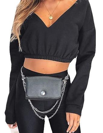 8d23134d1a4082 BYWX Women Off Shoulder Deep V-Neck Long Sleeve Fitted Crop Top Black US XS