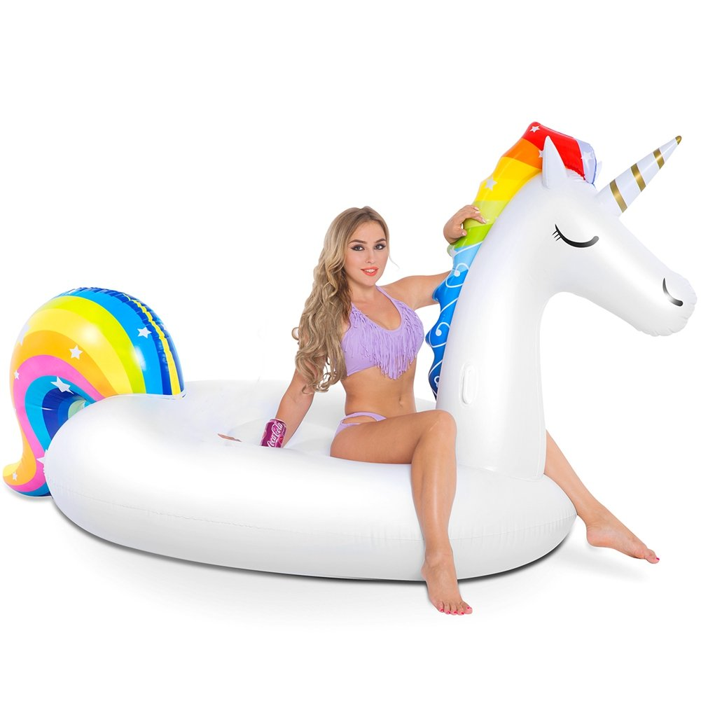 NAKORNO Inflatable Unicorn Pool Float, Funny Pool Party Toys Giant Pool Floats for Adults Kids, Outdoor Vacation Beach Loungers Lake Ride-ons River Raft, 108 x 55 x 48 inches