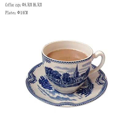 QPGGP Plate Blue Castle Tableware, Chinese And Western Coffee Cups