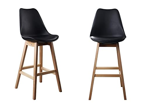 Waroom Home Counter Stool Set of 2, Pub Height 29.5 H Bar Stool with PU Cushioned PP Seat and Square Beech Wood Legs 2-Black