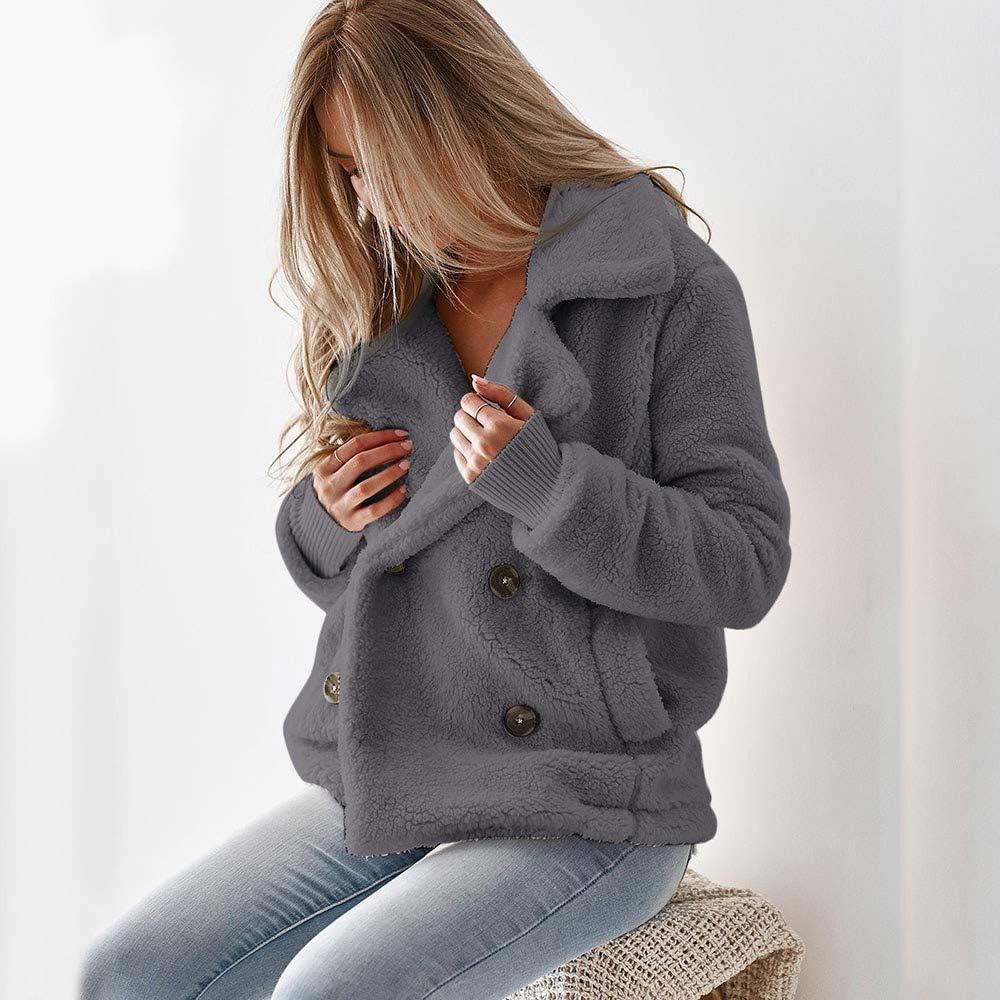 Womens Warm Winter Faux Shearling Shaggy Outwear Jackets Fashion Ladies Zipper Button Pockets Cardigan Coat