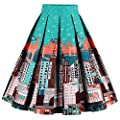 Babyonline Women Vintage Skater Skirts High Waist Midi Print Rockabilly Skirt