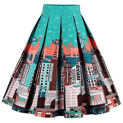 Babyonline Women Vintage Skater Skirts High Waist Midi Print Rockabilly Skirt