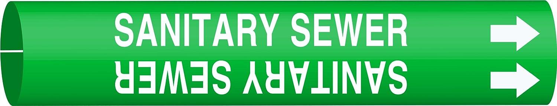 Legend Sanitary Sewer Legend Sanitary Sewer Brady 4123-G Brady Strap-On Pipe Marker White On Green Printed Plastic Sheet B-915
