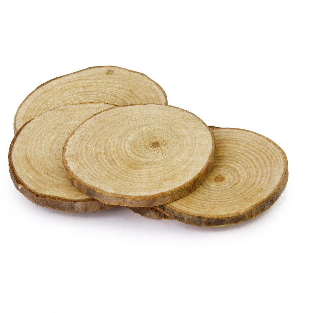 Jili Online 60 Pieces Natural Vintage Wood Wood Tree Pieces for Wedding Decoration Coasters 5-6cm by Jili Online (Image #9)