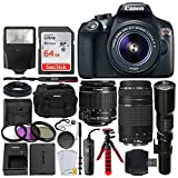 Canon EOS Rebel T6 DSLR Camera + EF-S 18-55mm is II Lens + 75-300mm & 500mm Telephoto Lens + Filter Kit + 64GB Memory Card + Gadget Bag + Flash + Remote + Tripod & Monopod- Professional Bundle