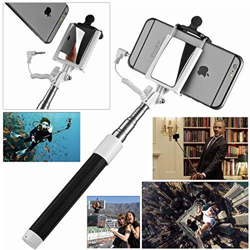 JZK® Monopiede bastone selfie con specchio + 3-in-1 kit lenti (obiettivo fisheye + grandangolo lente + macro lente ) clip-on fotocamera per smartphone cellulare iPhone Samsung HTC Sony LG Nexus WIKO N