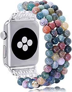 KAI Top Fashion Watch Band Compatible with Apple Watch 42mm 44mm for Women Girls, Natural Indian Agate Bead Elastic Band Replacement Stretch Strap Compatible for iWatch Series SE & Series 6 5 4 3 2 1