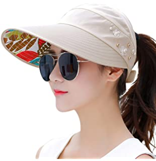 0d257bf2413 HINDAWI Sun Hats for Women Wide Brim Sun Hat UV Protection Caps Floppy Beach  Packable Visor