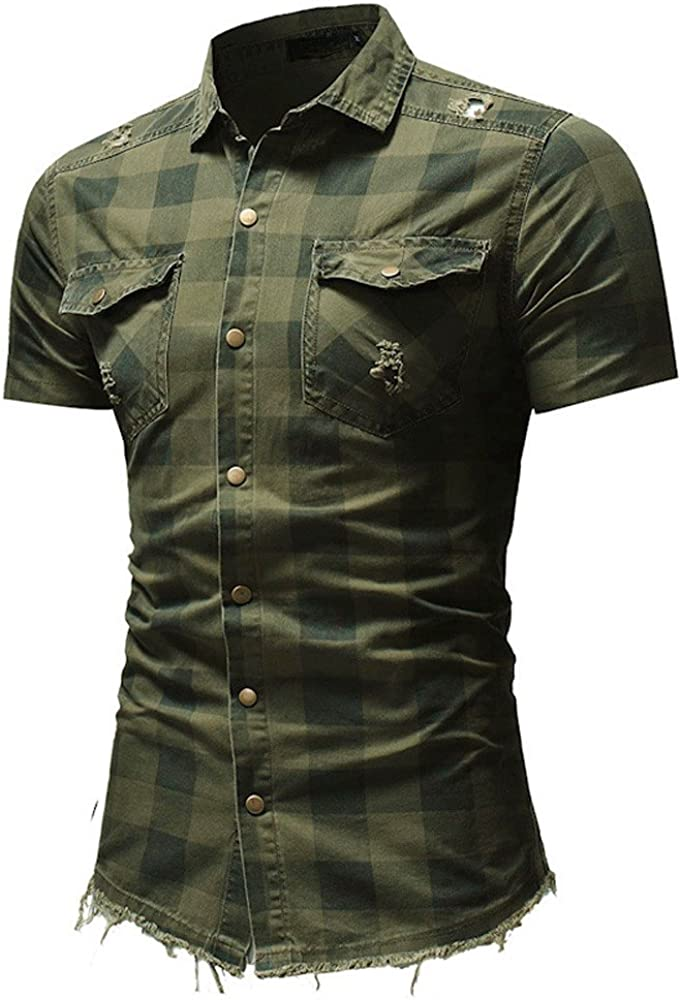 Mens Distressed Plaid Button Down Shirt Pocket Short Sleeve Top Blouse by Balakie