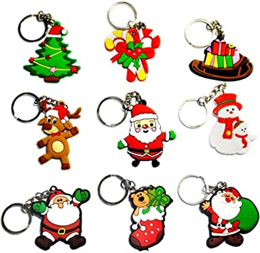 New Xmas Santa Claus Keyrings Father Christmas Tree Snowman Keychains