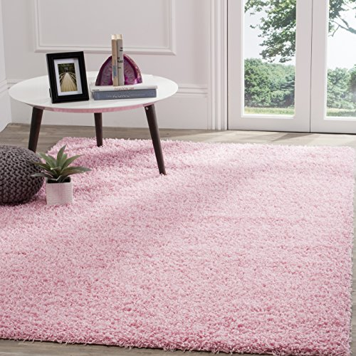 Safavieh Athens Shag Collection SGA119P Pink Area Rug (6' x (Pink Shag)