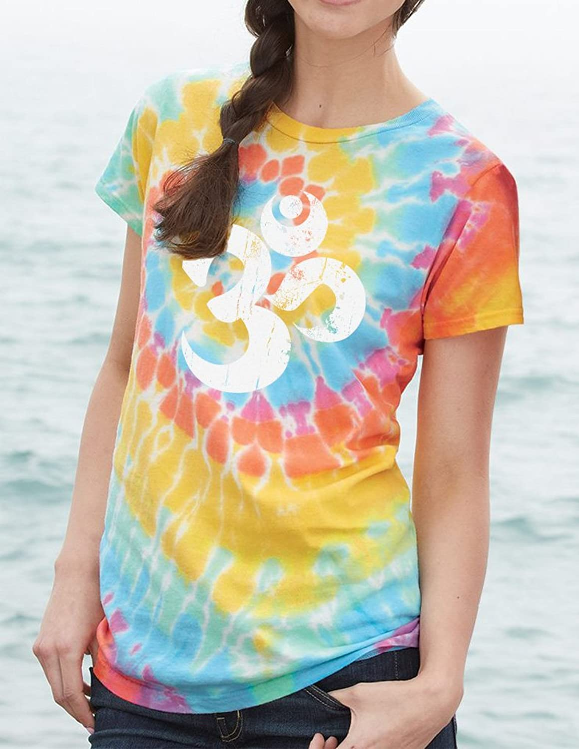Yoga Clothing For You Ladies Distressed OM Tie Dye Tee Shirt