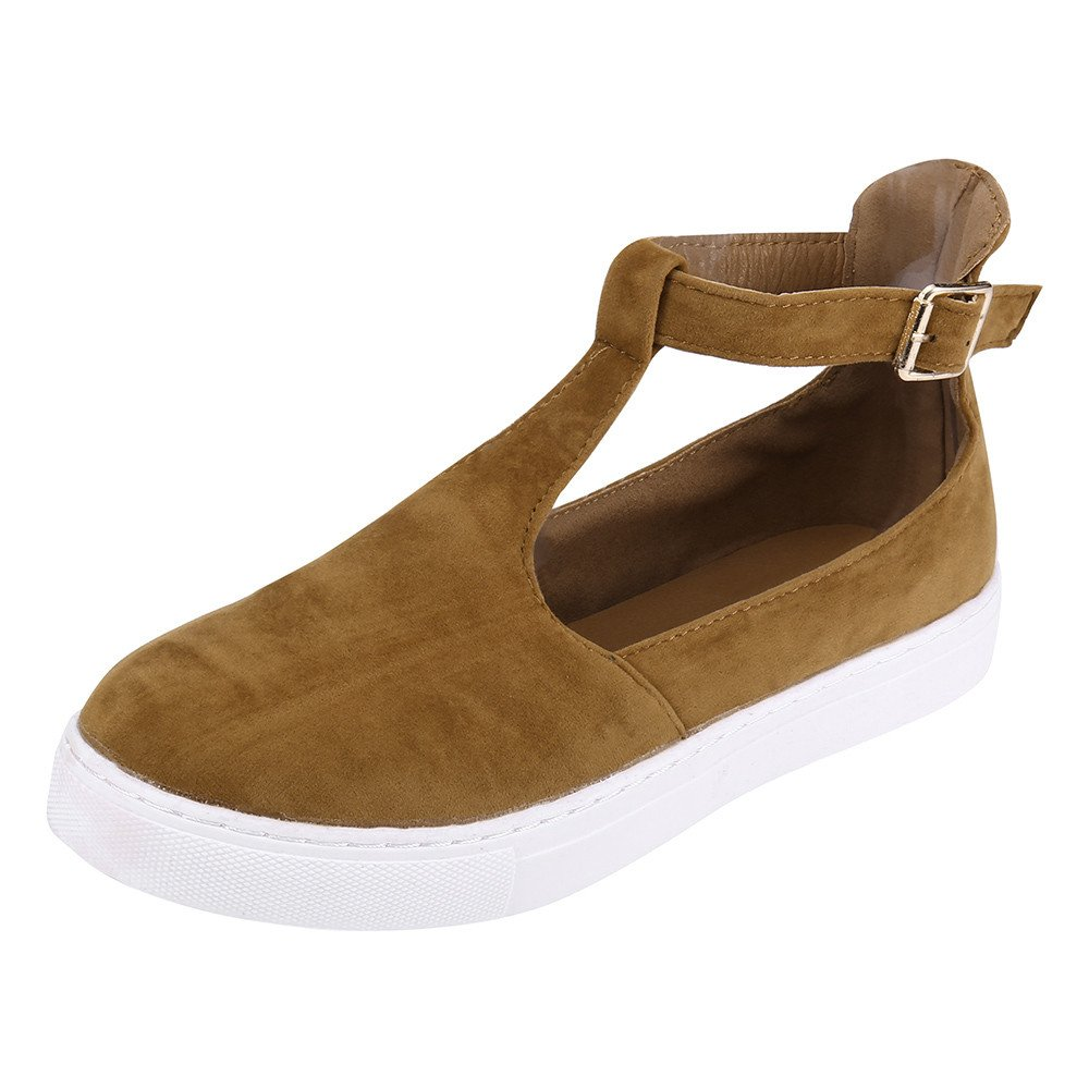 Clearance Sale Shoes For Women ,Farjing Women Vintage Out Shoes Round Toe Platform Flat Heel Buckle Strap Casual Shoes(US:8,Brown1)