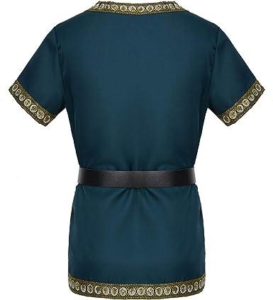 dream cosplay T-Shirt Medievale da Cavaliere Costume Vichingo Guerriero Maglietta con Cintura