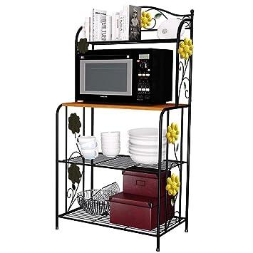 Yontree 4 Tier Kitchen Bakeru0027s Rack Utility Microwave Oven Stand Storage  Cart Workstation Shelf