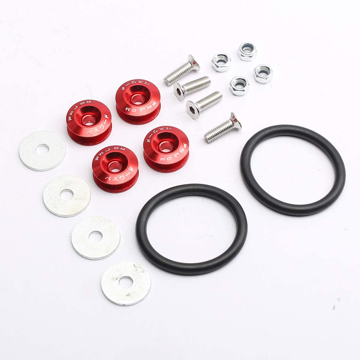 PeakCar Replacement for Red Universal CNC Billet Bumper Trunk Quick Release Fastener Kit
